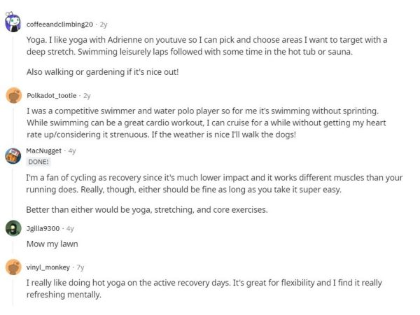Members of fitness Reddit thread share their active recovery workout routine.