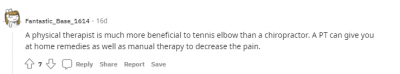 Screenshot from Reddit talking about elbow pain treatments