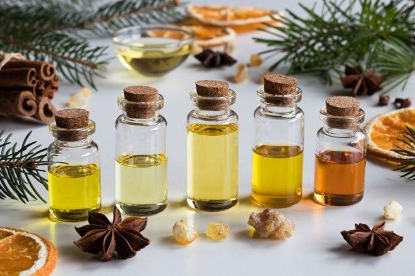 Bottles of different body massage oils.