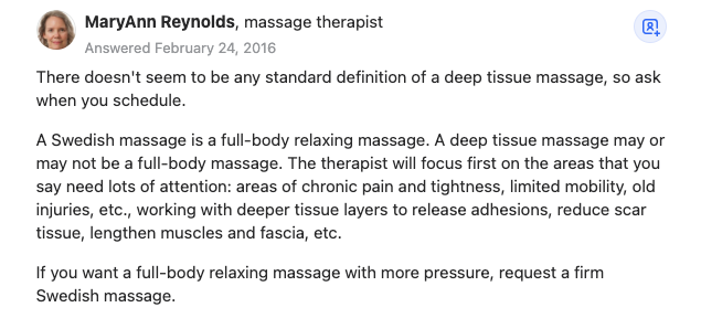 A Quora response differentiating deep tissue and Swedish massage purposes