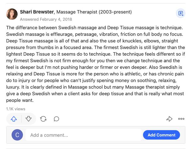 A Quora response explaining deep tissue and Swedish massage techniques