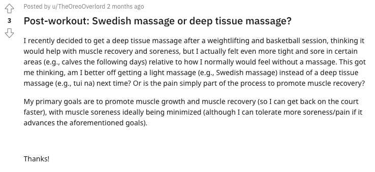 A Reddit post asking about the suitability of deep tissue massage and Swedish massage for post-workout recovery