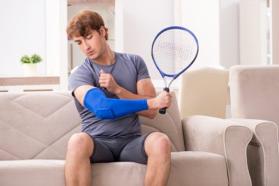 Injured tennis player recovering at home