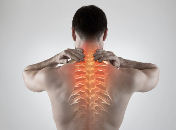 Back pain with highlighted spine
